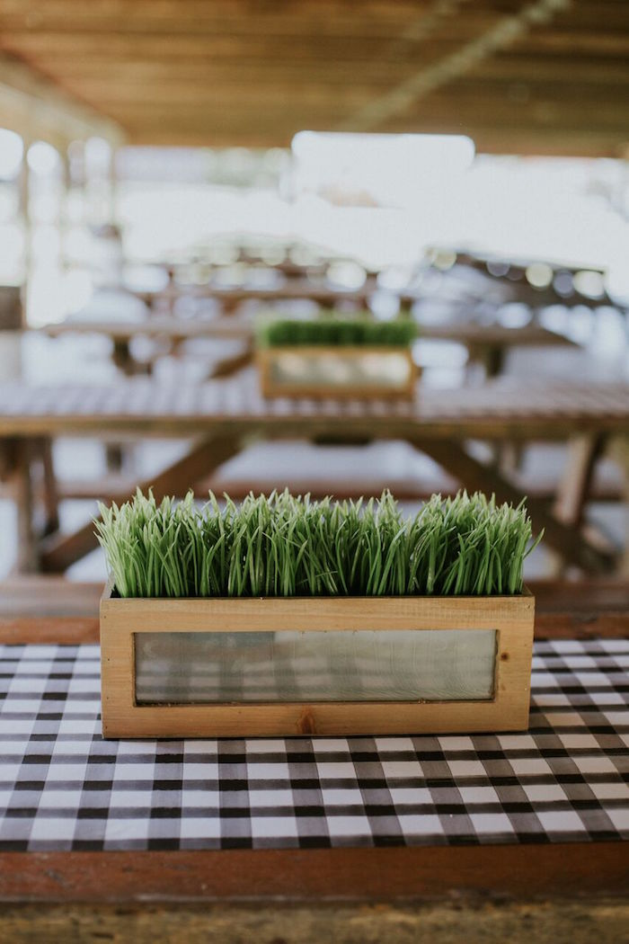Grass box centerpiece from a Planted grass centerpiece from a Modern Vintage Farm-to-Table Birthday Party on Kara's Party Ideas | KarasPartyIdeas.com (49)