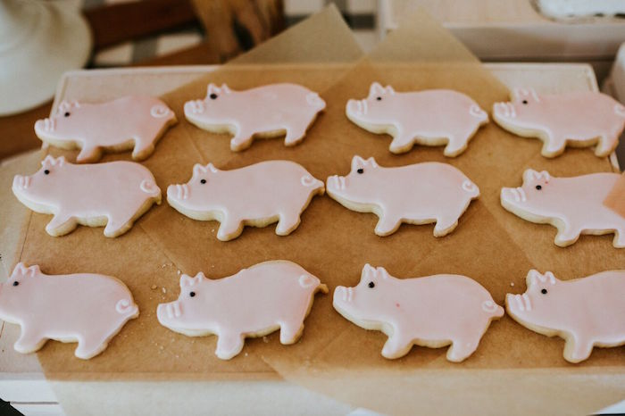 Pig sugar cookies from a Modern Vintage Farm-to-Table Birthday Party on Kara's Party Ideas | KarasPartyIdeas.com (30)