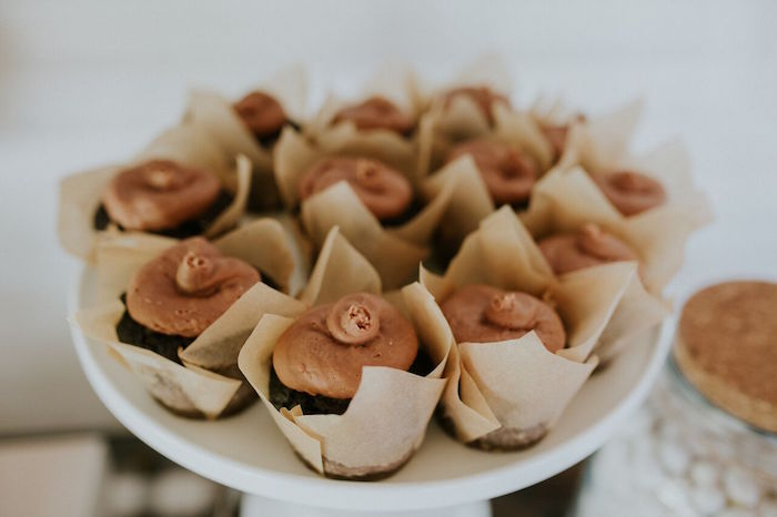 Cupcakes wrapped with paper from a Modern Vintage Farm-to-Table Birthday Party on Kara's Party Ideas | KarasPartyIdeas.com (29)