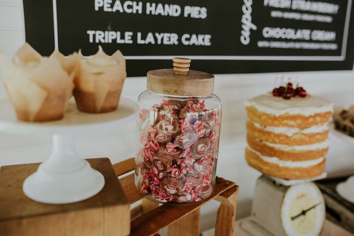 Wood-lid candy jar from a Modern Vintage Farm-to-Table Birthday Party on Kara's Party Ideas | KarasPartyIdeas.com (28)