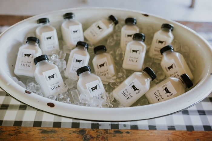 Milk bottles from a Modern Vintage Farm-to-Table Birthday Party on Kara's Party Ideas | KarasPartyIdeas.com (26)