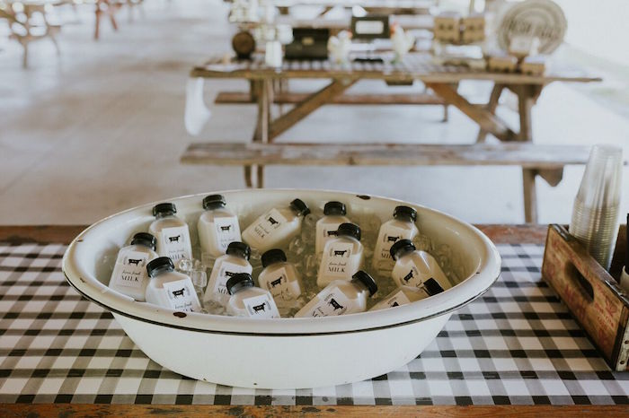Tub of milk bottles from a Modern Vintage Farm-to-Table Birthday Party on Kara's Party Ideas | KarasPartyIdeas.com (25)
