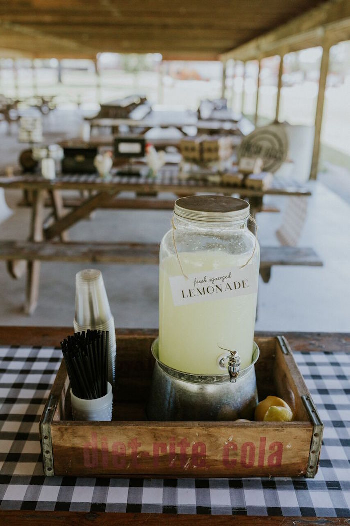 Lemonade dispenser from a Modern Vintage Farm-to-Table Birthday Party on Kara's Party Ideas | KarasPartyIdeas.com (24)