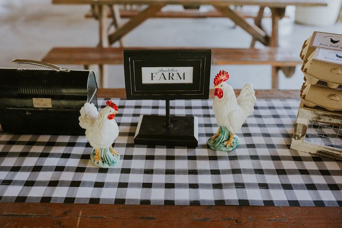 Chicken centerpieces from a Modern Vintage Farm-to-Table Birthday Party on Kara's Party Ideas | KarasPartyIdeas.com (22)