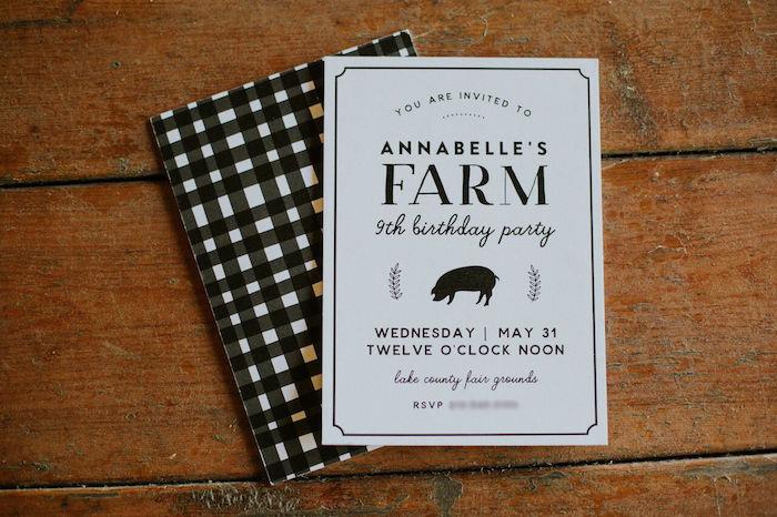 Farm Party Invite from a Modern Vintage Farm-to-Table Birthday Party on Kara's Party Ideas | KarasPartyIdeas.com (19)