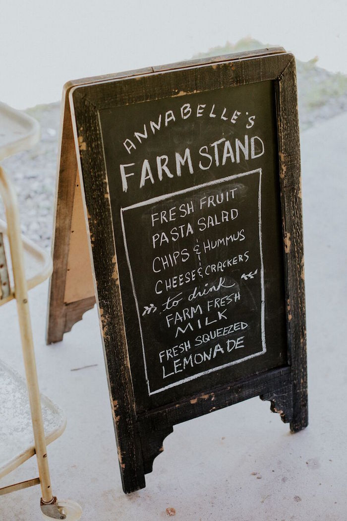 Blackboard easel menu from a Modern Vintage Farm-to-Table Birthday Party on Kara's Party Ideas | KarasPartyIdeas.com (46)
