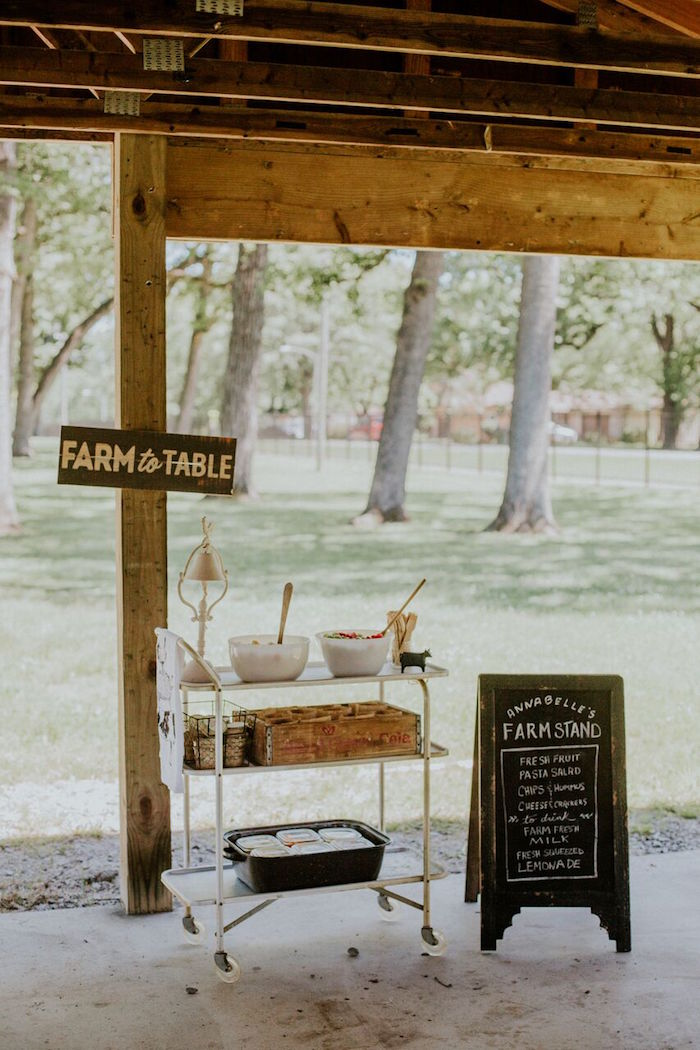 Food cart + menu board from a Modern Vintage Farm-to-Table Birthday Party on Kara's Party Ideas | KarasPartyIdeas.com (45)