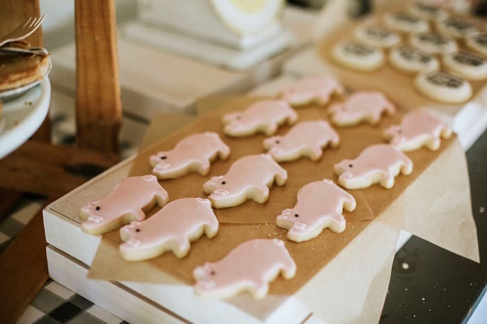 Pig cookies from a Modern Vintage Farm-to-Table Birthday Party on Kara's Party Ideas | KarasPartyIdeas.com (41)