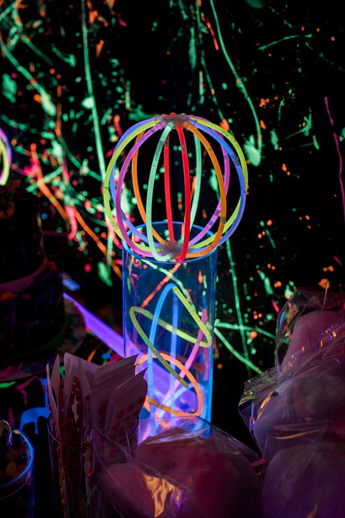 Glow stick centerpiece from a Neon Glow Birthday Party on Kara's Party Ideas | KarasPartyIdeas.com (16)