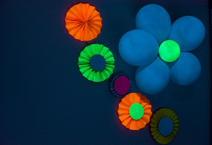 Glow flowers & rosettes from a Neon Glow Birthday Party on Kara's Party Ideas | KarasPartyIdeas.com (15)