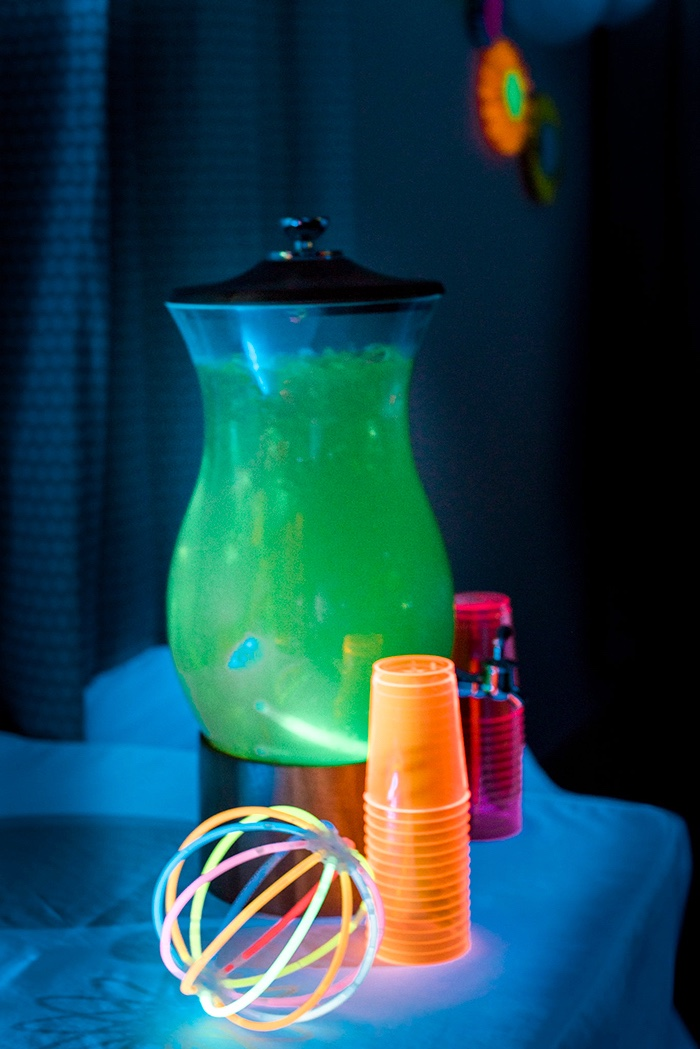 Beverage table from a Neon Glow Birthday Party on Kara's Party Ideas | KarasPartyIdeas.com (14)