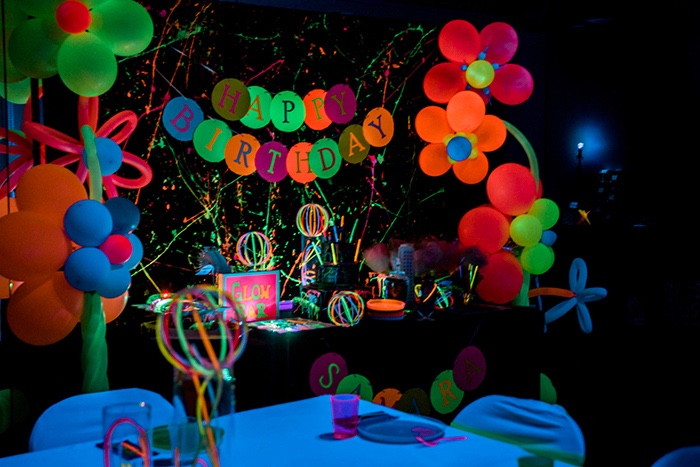 Glow in the Dark Party Table from a Neon Glow Birthday Party on Kara's Party Ideas | KarasPartyIdeas.com (13)