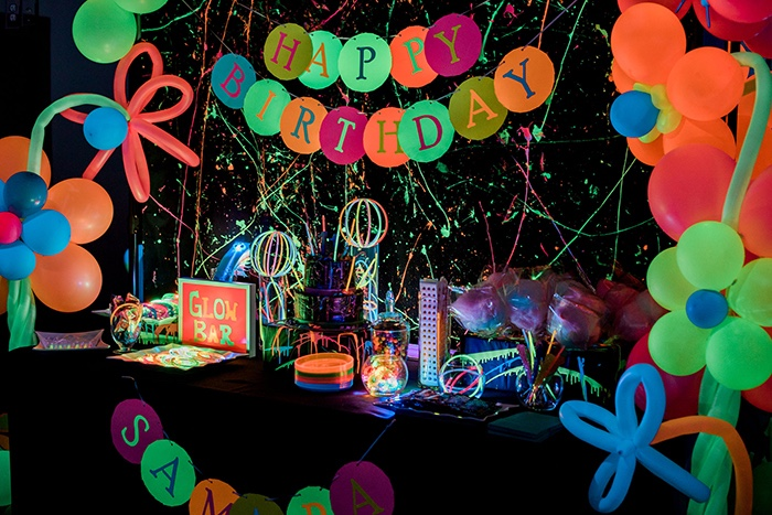 Glow in the Dark Dessert Table from a Neon Glow Birthday Party on Kara's Party Ideas | KarasPartyIdeas.com (9)