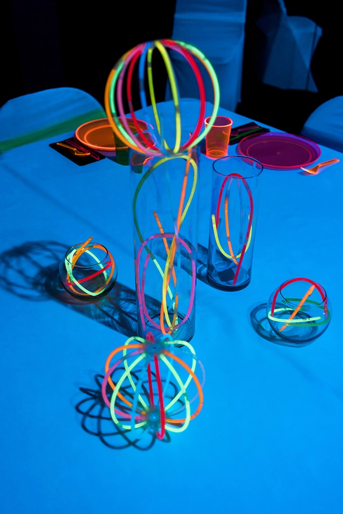 Centerpieces from a Neon Glow Birthday Party on Kara's Party Ideas | KarasPartyIdeas.com (8)