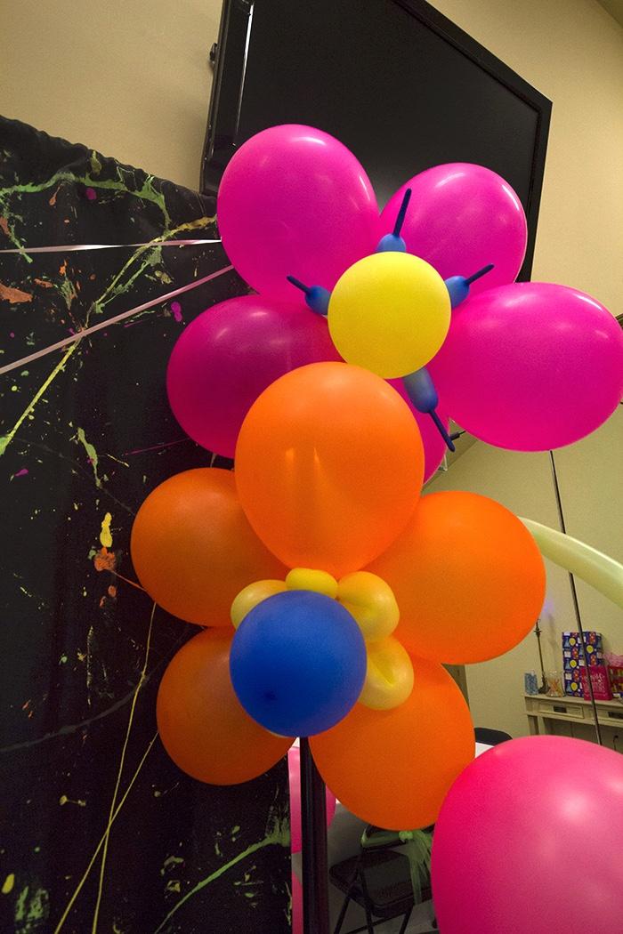 Balloon flowers from a Neon Glow Birthday Party on Kara's Party Ideas | KarasPartyIdeas.com (6)
