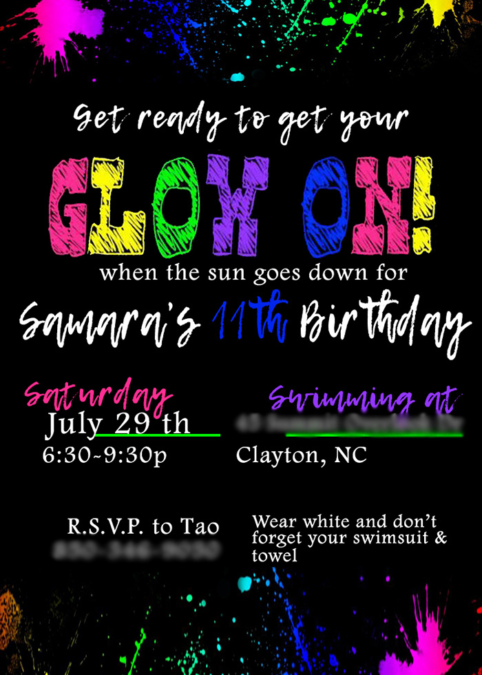 Glow On Party Invite from a Neon Glow Birthday Party on Kara's Party Ideas | KarasPartyIdeas.com (5)