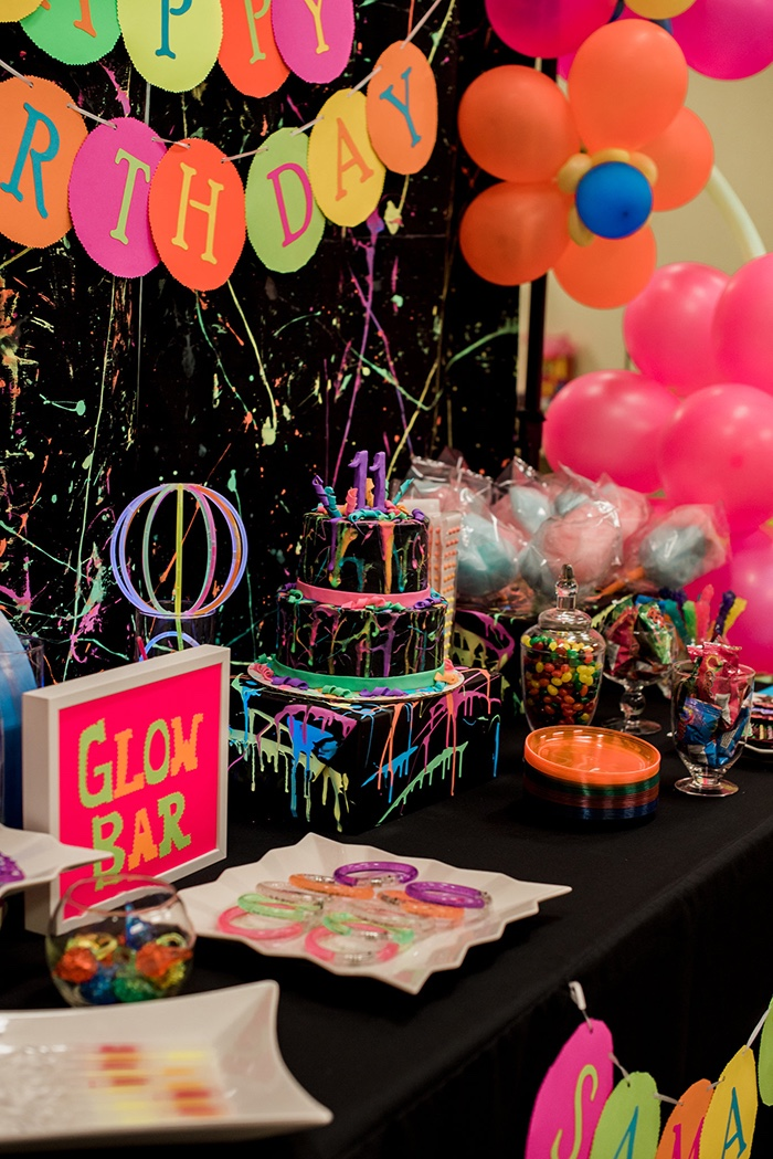 Cake table from a Neon Glow Birthday Party on Kara's Party Ideas | KarasPartyIdeas.com (26)