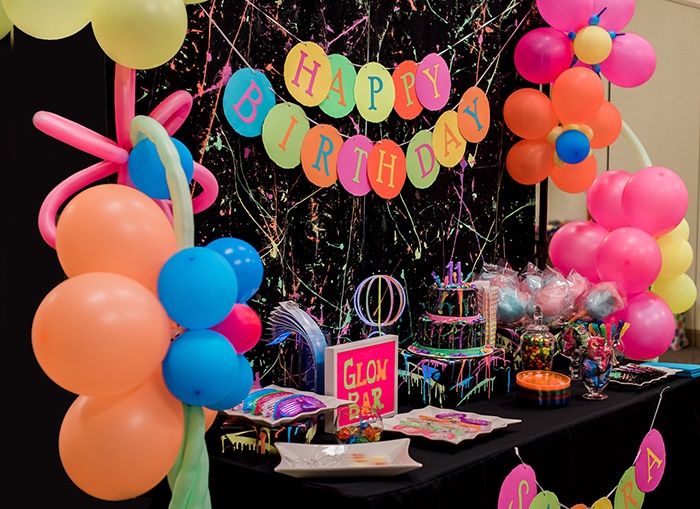 Dessert tablescape from a Neon Glow Birthday Party on Kara's Party Ideas | KarasPartyIdeas.com (25)