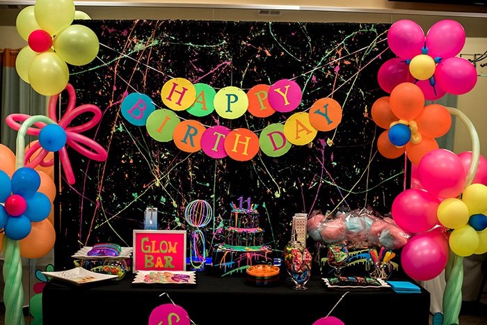 Karas Party Ideas Neon Glow Birthday Party Karas Party Ideas