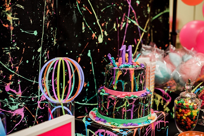 Cakescape from a Neon Glow Birthday Party on Kara's Party Ideas | KarasPartyIdeas.com (23)