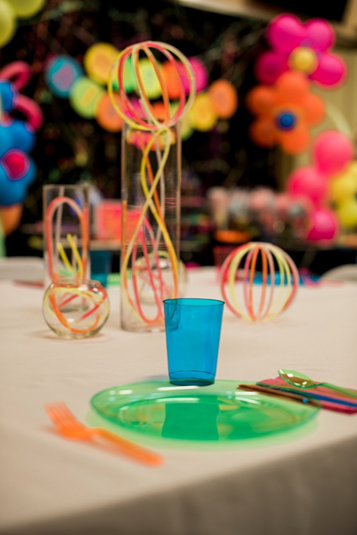 Neon + glow in the dark place setting from a Neon Glow Birthday Party on Kara's Party Ideas | KarasPartyIdeas.com (22)