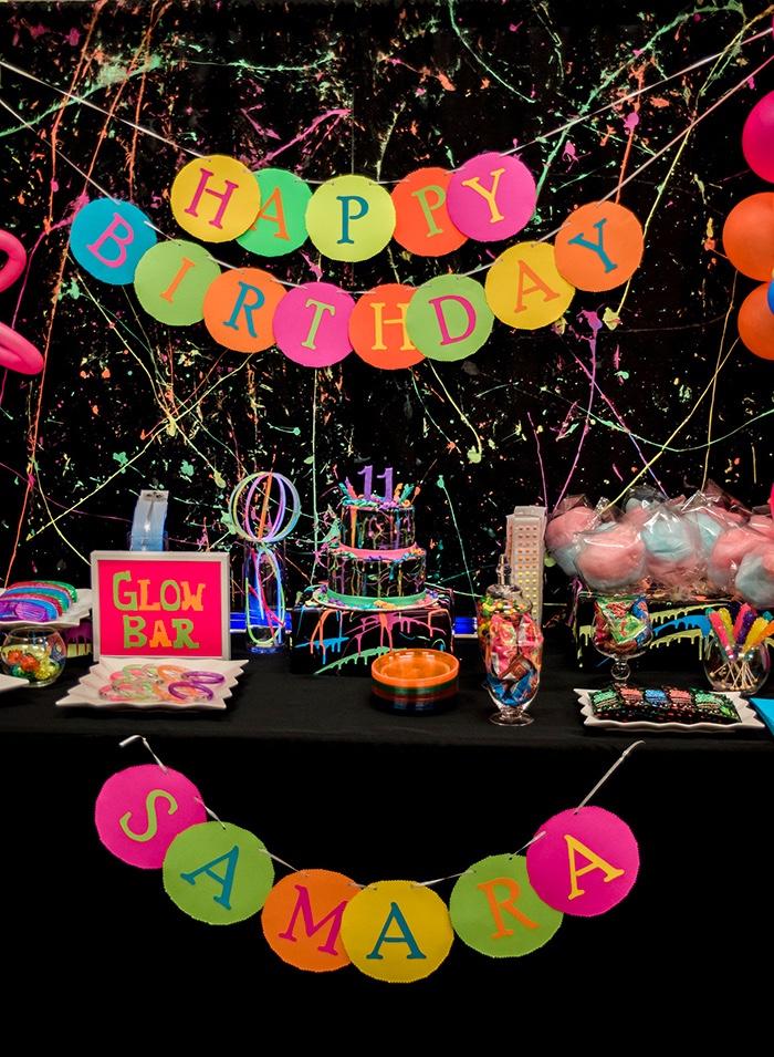 Neon Glow Birthday Party on Kara's Party Ideas | KarasPartyIdeas.com (21)