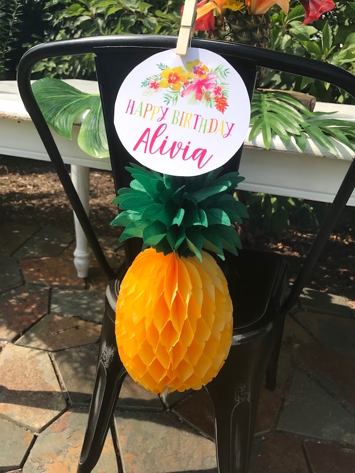 Tissue pineapple chair tie from a Party Like a Pineapple Birthday Party on Kara's Party Ideas | KarasPartyIdeas.com (23)