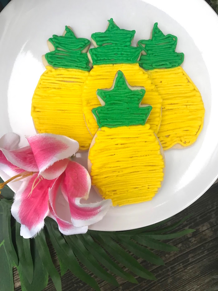 Pineapple cookies from a Party Like a Pineapple Birthday Party on Kara's Party Ideas | KarasPartyIdeas.com (19)