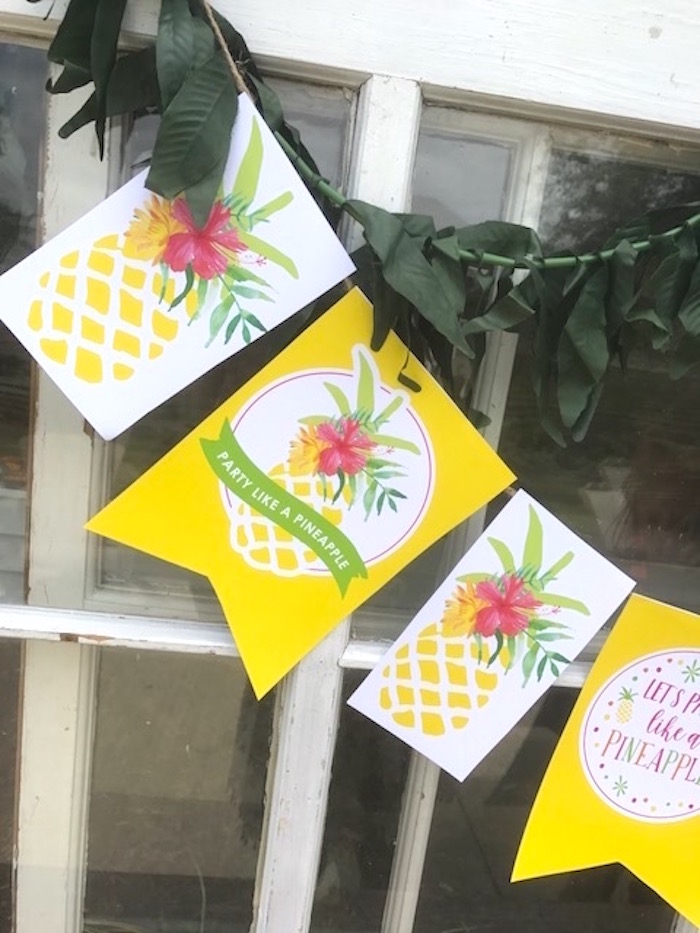 Pineapple banner from a Party Like a Pineapple Birthday Party on Kara's Party Ideas | KarasPartyIdeas.com (11)