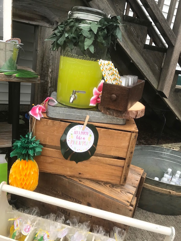 Beverage Bar From A Party Like Pineapple Birthday On Karas Ideas