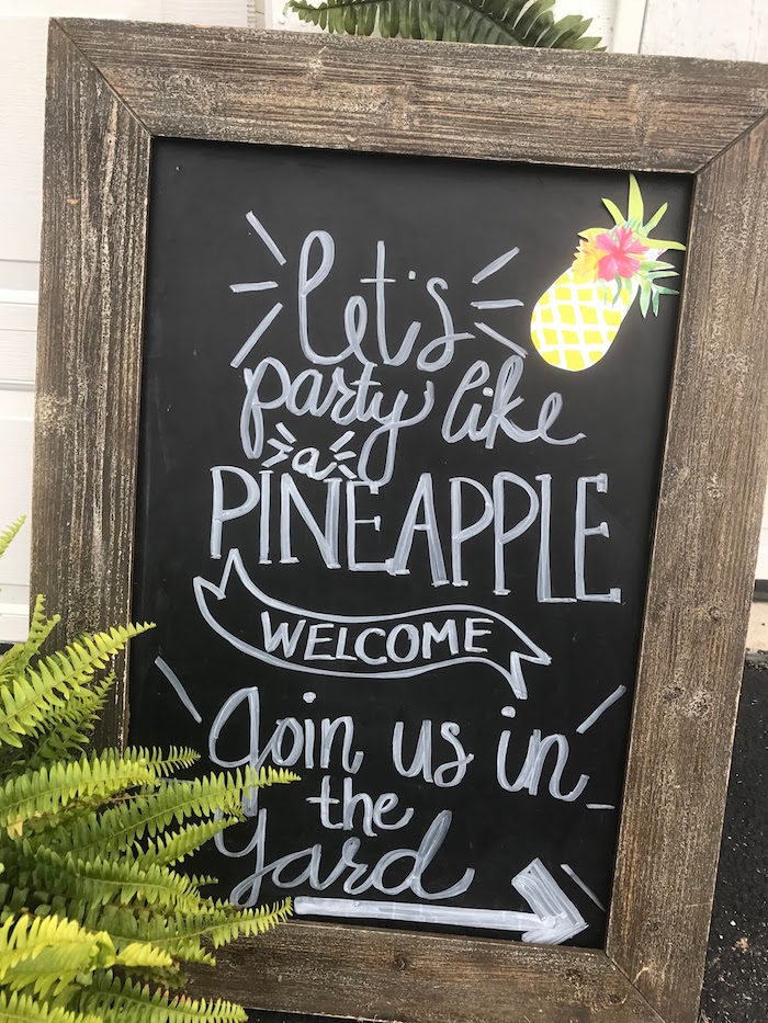 Chalkboard signage from a Party Like a Pineapple Birthday Party on Kara's Party Ideas | KarasPartyIdeas.com (7)