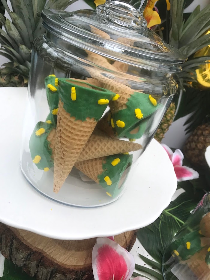 Pineapple sugar cones from a Party Like a Pineapple Birthday Party on Kara's Party Ideas | KarasPartyIdeas.com (6)