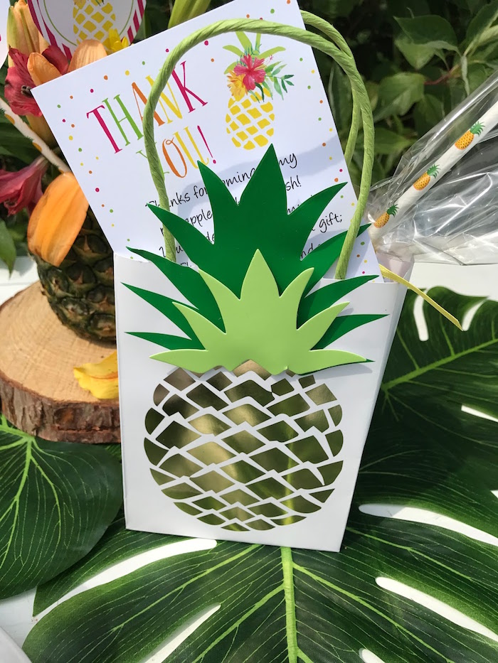 Pineapple gift bag from a Party Like a Pineapple Birthday Party on Kara's Party Ideas | KarasPartyIdeas.com (28)