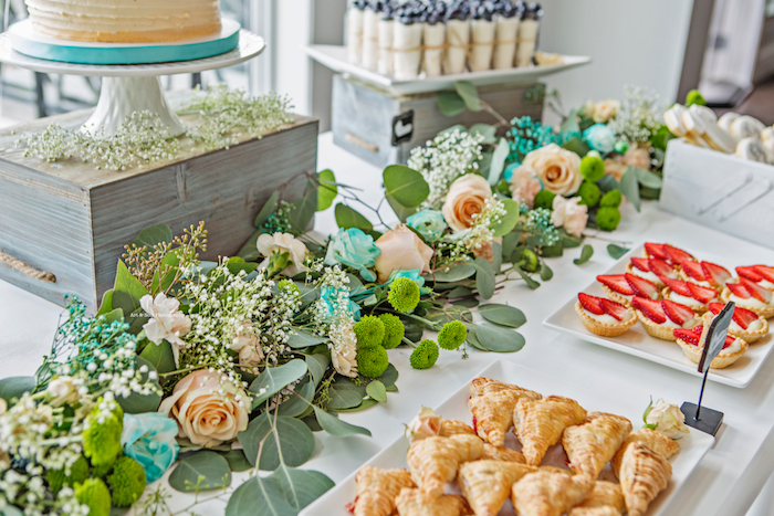 Floral garland runner from a Pastel Gender Neutral Baby Shower on Kara's Party Ideas | KarasPartyIdeas.com (10)