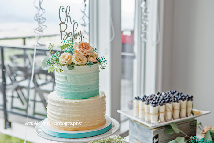 Ombre cake from a Pastel Gender Neutral Baby Shower on Kara's Party Ideas | KarasPartyIdeas.com (9)