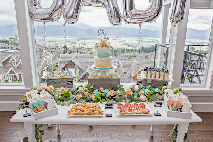 """""""Oh Baby"""" dessert table from a Pastel Gender Neutral Baby Shower on Kara's Party Ideas 