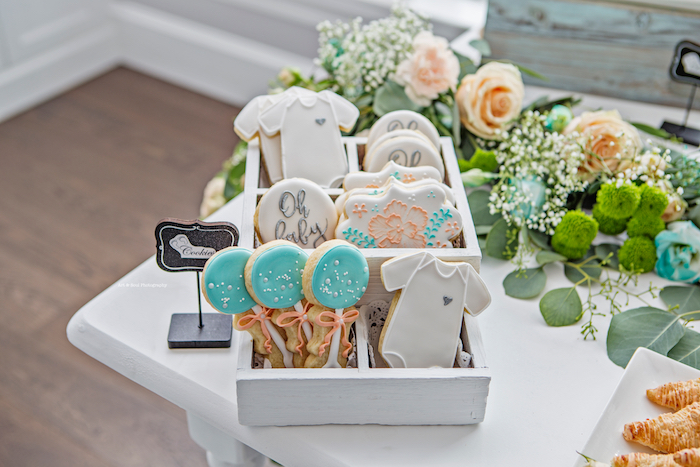 Baby-inspired sugar cookies from a Pastel Gender Neutral Baby Shower on Kara's Party Ideas | KarasPartyIdeas.com (18)