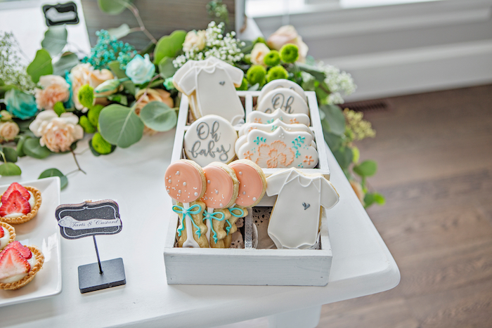 """""""Oh Baby"""" sugar cookies from a Pastel Gender Neutral Baby Shower on Kara's Party Ideas 