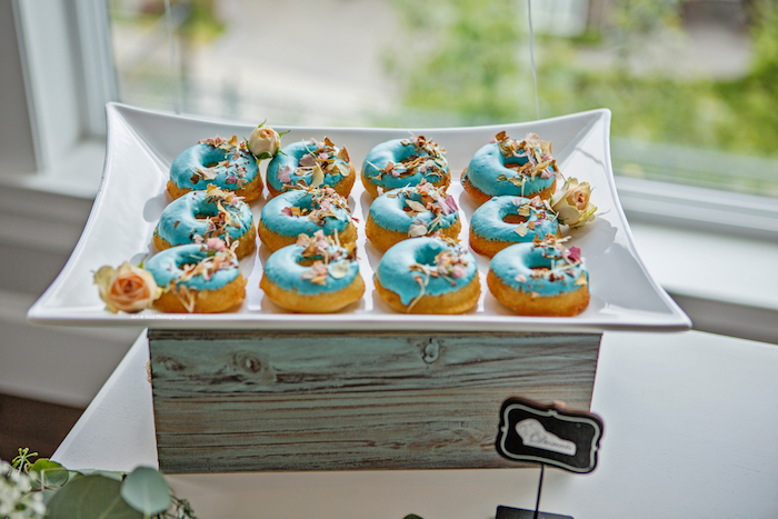 Blue-iced doughnuts from a Pastel Gender Neutral Baby Shower on Kara's Party Ideas | KarasPartyIdeas.com (13)