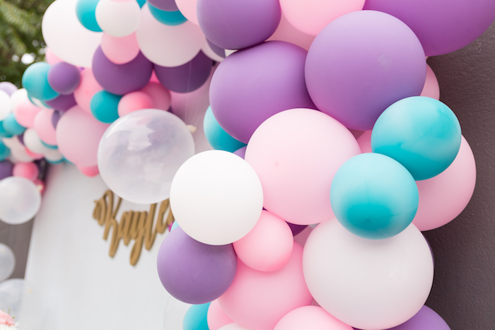 Balloon banner from a Pastel Mermaid Birthday Party on Kara's Party Ideas | KarasPartyIdeas.com (22)