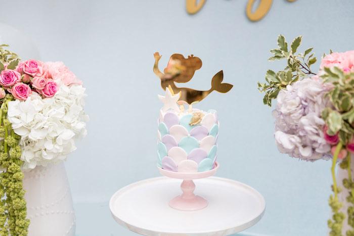 Mermaid cake from a Pastel Mermaid Birthday Party on Kara's Party Ideas | KarasPartyIdeas.com (20)