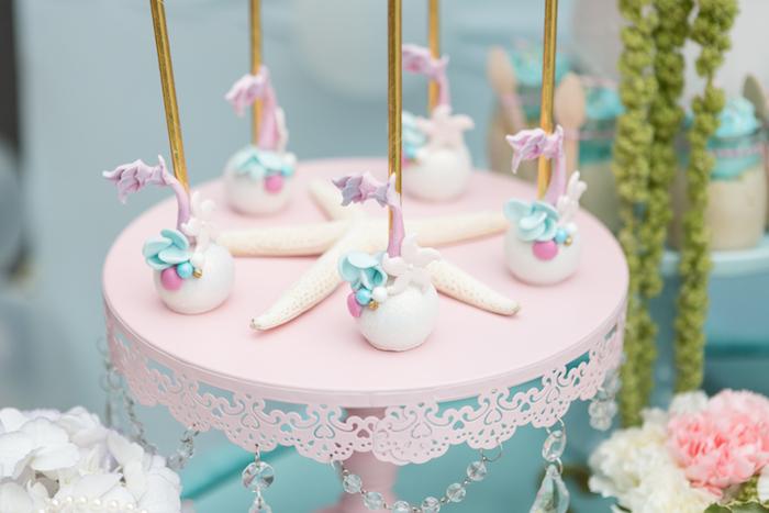 Mermaid cake pops from a Pastel Mermaid Birthday Party on Kara's Party Ideas | KarasPartyIdeas.com (19)