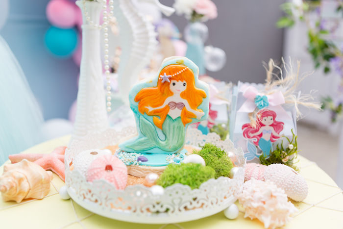 Mermaid cookie from a Pastel Mermaid Birthday Party on Kara's Party Ideas | KarasPartyIdeas.com (18)