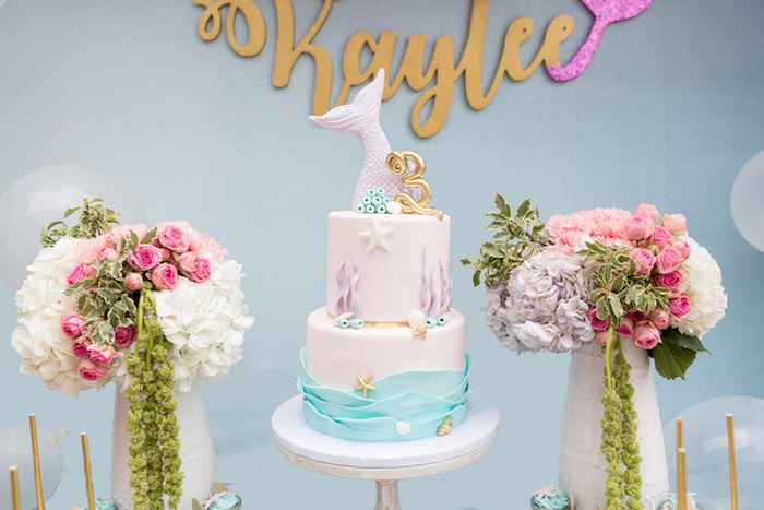 Cake from a Pastel Mermaid Birthday Party on Kara's Party Ideas | KarasPartyIdeas.com (17)