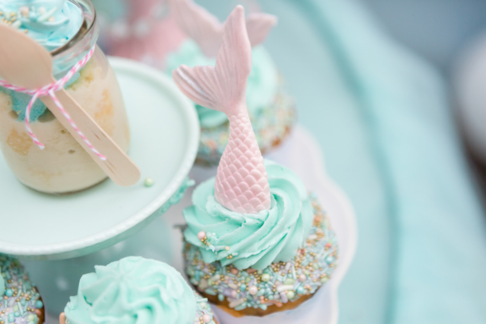 Mermaid cupcake from a Pastel Mermaid Birthday Party on Kara's Party Ideas | KarasPartyIdeas.com (15)