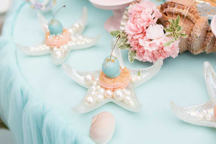Macarons on starfish plates from a Pastel Mermaid Birthday Party on Kara's Party Ideas | KarasPartyIdeas.com (14)