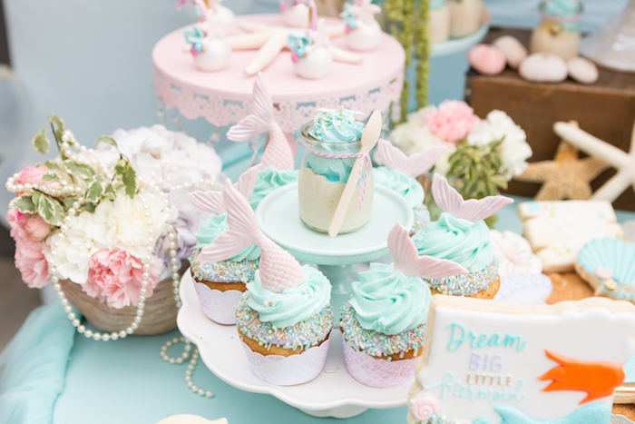 Mermaid fin cupcakes from a Pastel Mermaid Birthday Party on Kara's Party Ideas | KarasPartyIdeas.com (13)