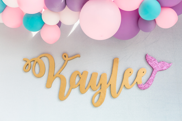 Custom mermaid tale name sign from a Pastel Mermaid Birthday Party on Kara's Party Ideas | KarasPartyIdeas.com (31)