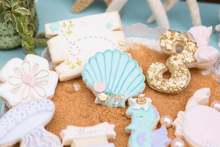Under the sea cookies from a Pastel Mermaid Birthday Party on Kara's Party Ideas | KarasPartyIdeas.com (12)