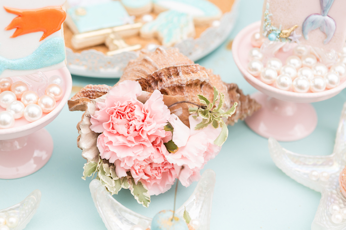 Flower-filled conk shell from a Pastel Mermaid Birthday Party on Kara's Party Ideas | KarasPartyIdeas.com (11)
